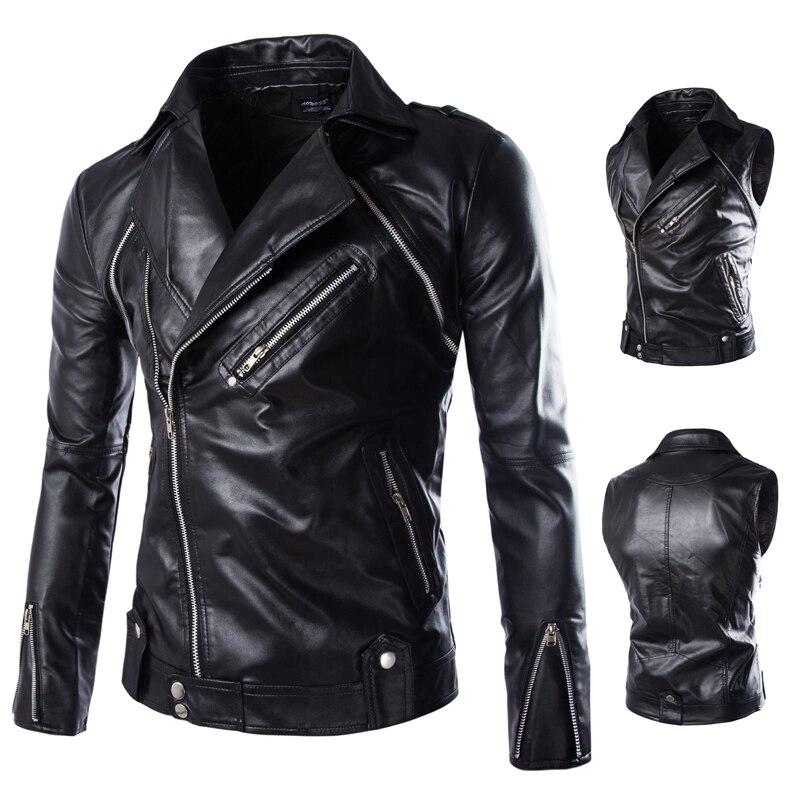 Hommes veste en cuir manteau nouveauté hommes en cuir hommes porter peut enlever les manches en cuir vestes hommes vêtements 2018