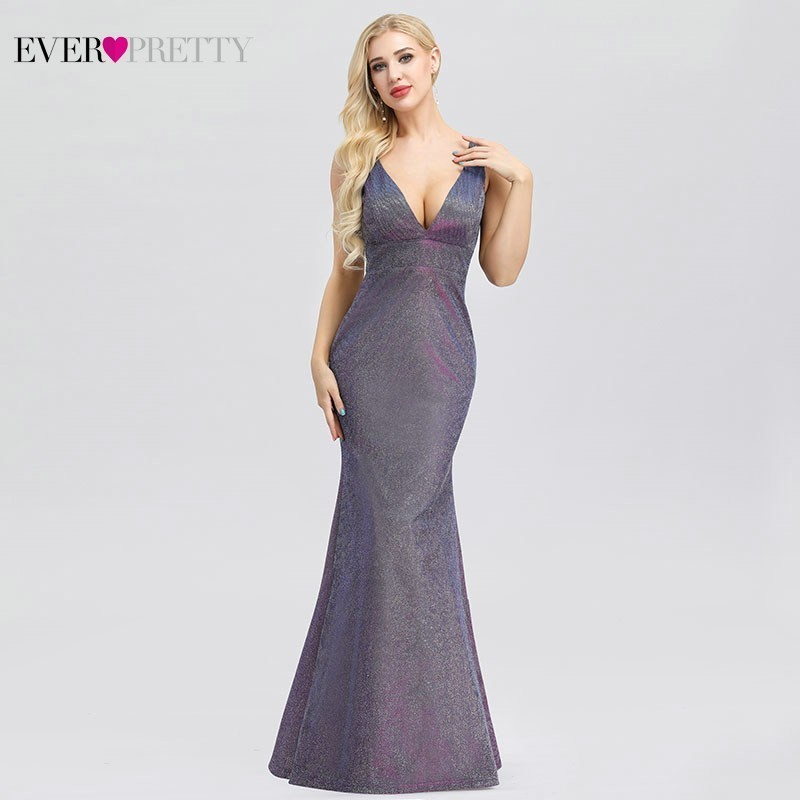 Ever Pretty Sexy Mermaid Prom Dresses Long Deep V-Neck Sleeveless Sparkle Gala Dresses EP00957PW Elegant Formal Party Gowns 2020