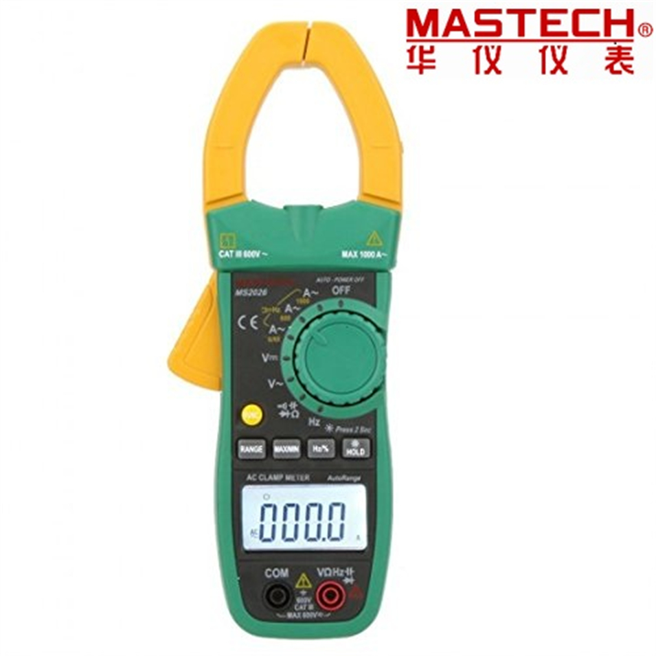 Digital AC Current Clamp Meter Auto Range AC/DC Multimeter Ammeter Voltmeter Ohmmeter Capacitance &Frequency Test MASTECH MS2026