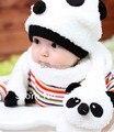 Alta qualidade crianças chapéu 100% chapéu de lã + cachecol set Panda cap crianças cap animais inverno quente meninas