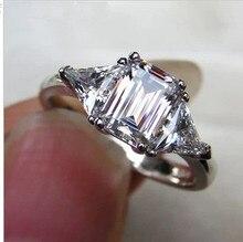 Роскошные NSCD синтетический камень Горячие Знаменитости Обручение кольца для Для женщин! 3 карат 3 Камень 2 трлн. сбоку камни
