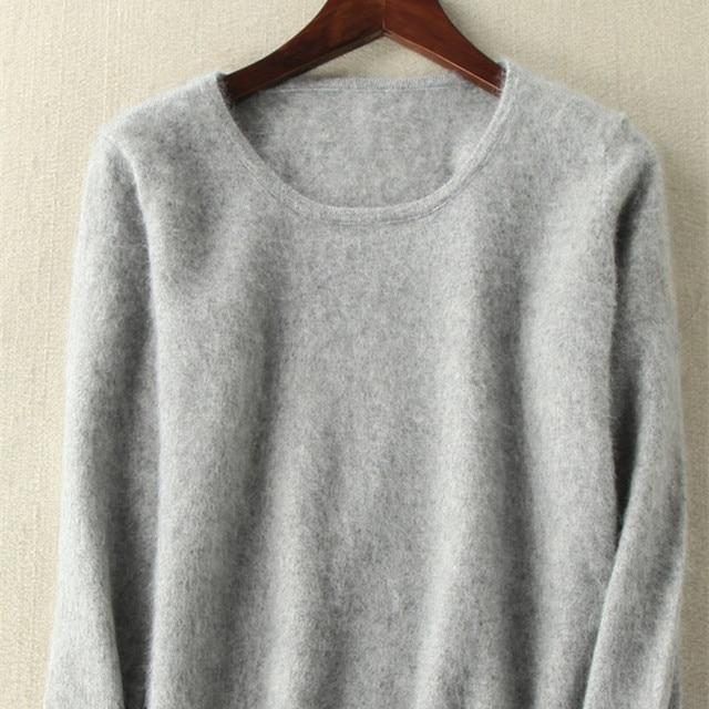 2020 outono inverno camisola feminina 100% mink cashmere suéteres e pulôver macio quente topos feminino o pescoço manga longa básico jumper
