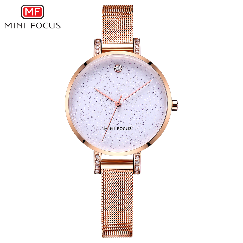 MINIFOCUS Fashion Elegant Quarts Women Watch Rose Gold Women Wrist Watch Ladies Brand Luxury Crystal Watches Relogio Feminino