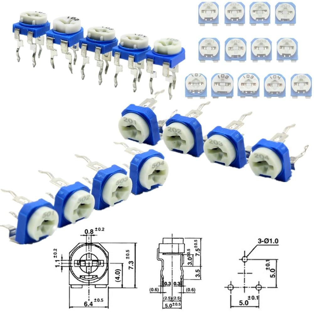 Trimming Potentiometer Rm 065 Top Adjustment 100ohm 1mohm Rm065 Variable Resistors Assorted Kit 13type10pcs130pcs Wiring Resistor