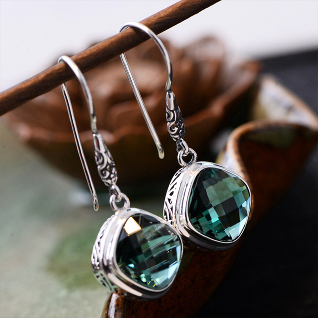 Metjakt Natural Chrome Diopside Earrings Solid 925 Sterling Silver Drop For Women S Vintage Ethnic Jewelry
