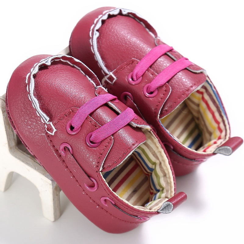 New Kid Boys Girls Casual PU Lace Up First Walkers Non-slip Soft Bottom Baby Spring Solid Color Cack Shoes