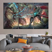 3 Piece Armor Battle Giant And Sword Warrior Duel Painting Modern Artwork Top-Rated Canvas Print Home Decorative Boy Room Wall