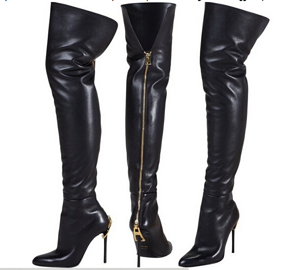 Christmas gift women slim thigh high boots genuine leather gold zip on the back thin high heels pointed toe dress boot for women