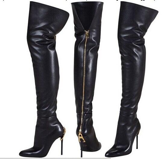 Regalo di natale donna pro stivali alti genuine Pelle Pelle Pelle zip oro sul   f2ad37