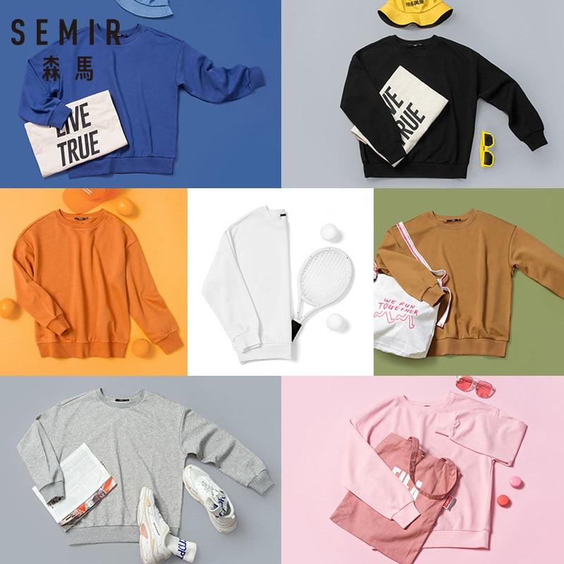 SEMIR Women Sweatshirt Pullover Sweatshirt With Ribbed Crewneck And Cuffs And Hem Girls Fashion Solid Sweatshirts Tops Autumn