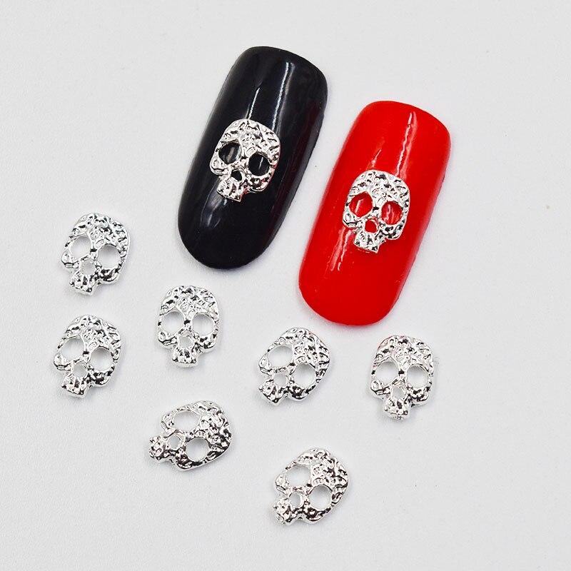 Beleshiny 50psc New Silver Skull 3D Nail Art Decorations