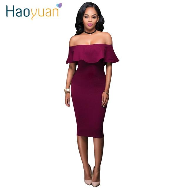Haoyuan fall 2017 mujeres hombro ruffle dress vintage azul vino rojo sexy bodycon dress club wear tight wrap party vestidos