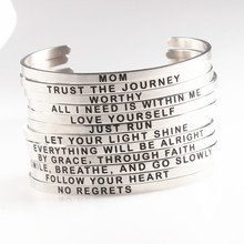 Silver Stainless Steel Engraved Message Bracelet Personalized Positive Inspirational Letter Bracelet & Bangle For Women