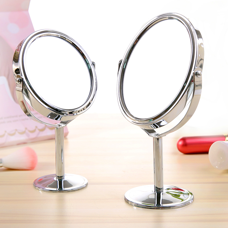 Small Makeup Mirror Desktop Round Oval Table Mirror Simple Ladies