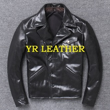 YR!Free shipping.Wholesales.Brand Japan style leather jacket men.black genuine cow leather coat.slim classic brakeman jacket