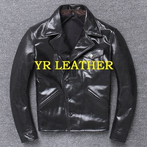 Image 1 - YR!Free shipping.Wholesales.Brand Japan style leather jacket men.black genuine cow leather coat.slim classic brakeman jacket