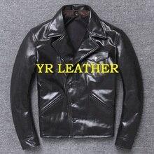 年! 送料無料。卸売。ブランド日本スタイルのレザージャケット男性。黒本物の牛革コート。スリムクラシック brakeman ジャケット