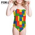 Niñas Niños Juguete Divertido Impresión de Punto Patchwork traje de Baño de Una Pieza Para Niños Niñas Ropa Infantil Niña Verano Caliente Bikini Biquinis