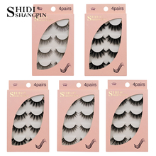 SHIDISHANGPIN 4 Pairs Mink Eyelashes 3d Lashes Natural False Fake Makeup Tool maquiagem
