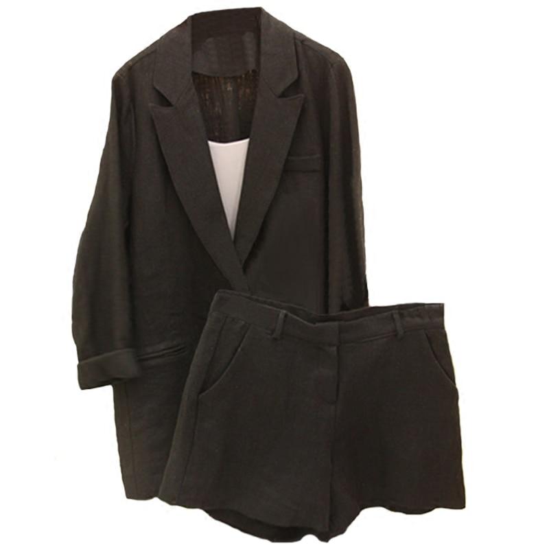 Travail porter un pantalon court costume femmes été automne Blazer à manches longues avec des Shorts OL bureau dames costumes formels