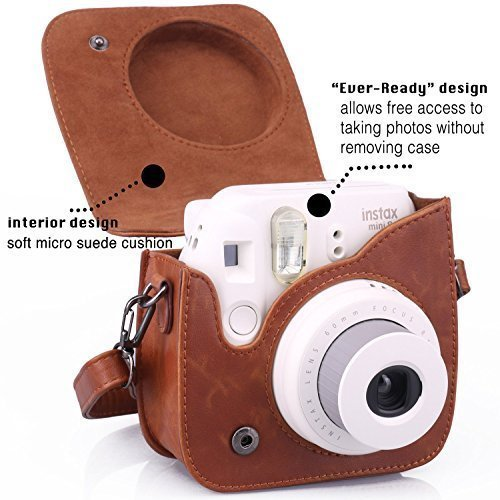 Brown Pu Leather Shoulder Strap Bag Case Pouch For Fujifilm Instax Mini8 Mini 9 Vintage Camera Carry Cover Coffee Color In Video Bags From