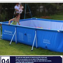 56403 Bestway 259*170*61cm Large Folding Tarpaulin Support Rectangle Pool/Square Frame Support Swimming Pool for whole Family(China)