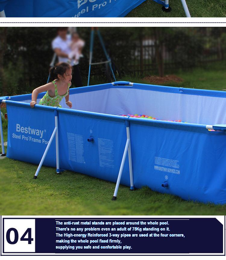 56403 Bestway 259*170*61cm Large Folding Tarpaulin Support Rectangle Pool/Square Frame Support Swimming Pool For Whole Family