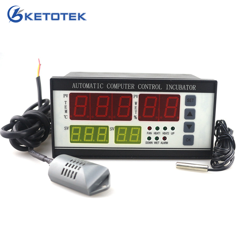 Ketotek Thermostat Egg Incubator Controller Hygrostat XM 18 Full Automatic Microcomputer Control Temperature Humidity Sensor
