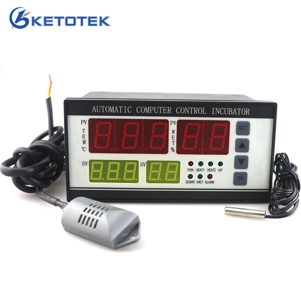 Aletler'ten Sıcaklık Cihazları'de Ketotek Termostat Yumurta Kuluçka Kontrol Cihazı Higrostat XM 18 Tam Otomatik Mikrobilgisayar Kontrolü Sıcaklık Nem Sensörü
