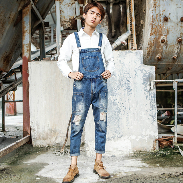 Spring and Summer trend Siamese Sling jeans Men's Japanese Retro Hole Nine pants Men's Korean version of Tooling bib