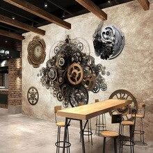 Papel tapiz de foto Retro industrial metal engranaje 3D papel tapiz para Bar Café Fondo Reloj de pared dormitorio ropa mural de papel pintado para tienda