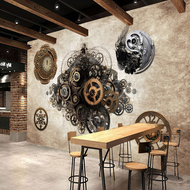 Photo wallpaper Retro industrial metal gear 3D Wallpaper ...