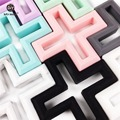Silicone Cross Baby Teether 5pc Handmade DIY Crafts Play Gym Pendant Sensory Toys Nursing Necklace Silicone Pendant