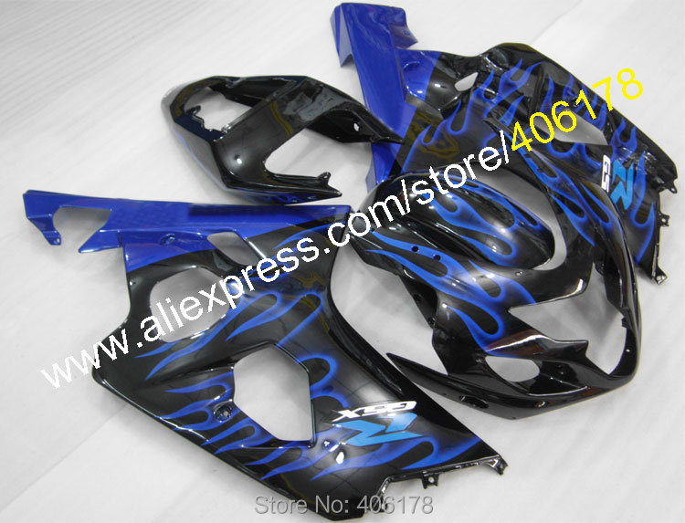 Hot Sales,motorcycle fairings Kit for SUZUKI GSXR GSX-R 600 750 2004 2005 K4 Blue Flame fairing body kits (Injection molding) lowest price fairing kit for suzuki gsxr 600 750 k4 2004 2005 blue black fairings set gsxr600 gsxr750 04 05 eg12