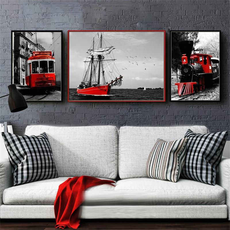 Nordic Canvas Painting Home Decor Photography Picture Wall Art Red Retro Landscape Print Bedroom Black White Scenery Calligraphy Aliexpress