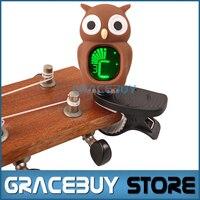Phổ Clip-On LCD Kỹ Thuật Số Chromatic Tuner Điện Tử Tuner Đối Guitar/Ukulele/Violin/Bass Carton Owl phong cách