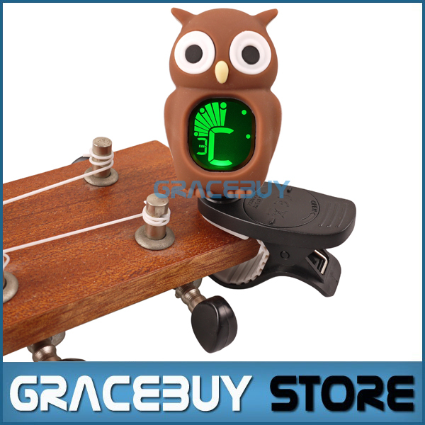 Universal Clip-On LCD Digital Chromatic Electronic Tuner Tuner For Guitar/ Ukulele/ Violin/ Bass Carton Owl Style sews et33 portable guitar tuner color screen digital tuner clip on design for chromatic guitar bass ukulele violin free shipping