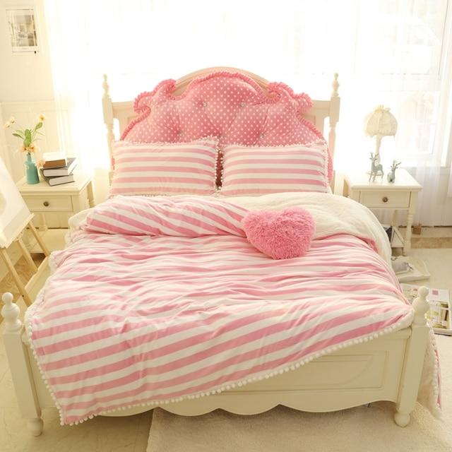 Winter Warm Fleece Bed Set Pink Purple Stripe Princess Style Bedding Set  Twin Full Queen King
