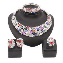 Colorful Rhinestone African Beads Jewelry Sets