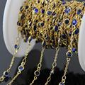 5Meter,Lapis Blue Glass Faceted Flat Round beads Coin Chains,Gold Plated Wire Wrapped Glass Chains bracelet woman sweater Chains