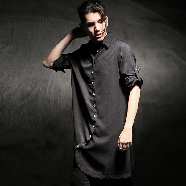2018 Hrajuku British Style Irregular Designer Loose Unique Dress Shirts Men  Fashion Shirt Long Sleeve Casual Blouse Mens Shirts-in Casual Shirts from  Men s ... 2d2a4752321d