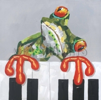 Hand Painted Modern Frog Oil Painting On Canvas For Living Room Decoration