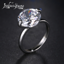 Luxury Round Big Cubic Zircon Engagement Ring for Romantic Women Wedding Bague Female Jewerly AR093