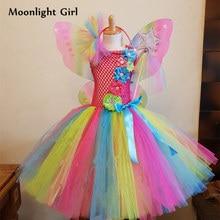 a7600f414 Arco Iris mariposa de hadas niñas Tutu vestido flores vestidos de la  princesa del traje de Halloween para los niños fiesta de cu.