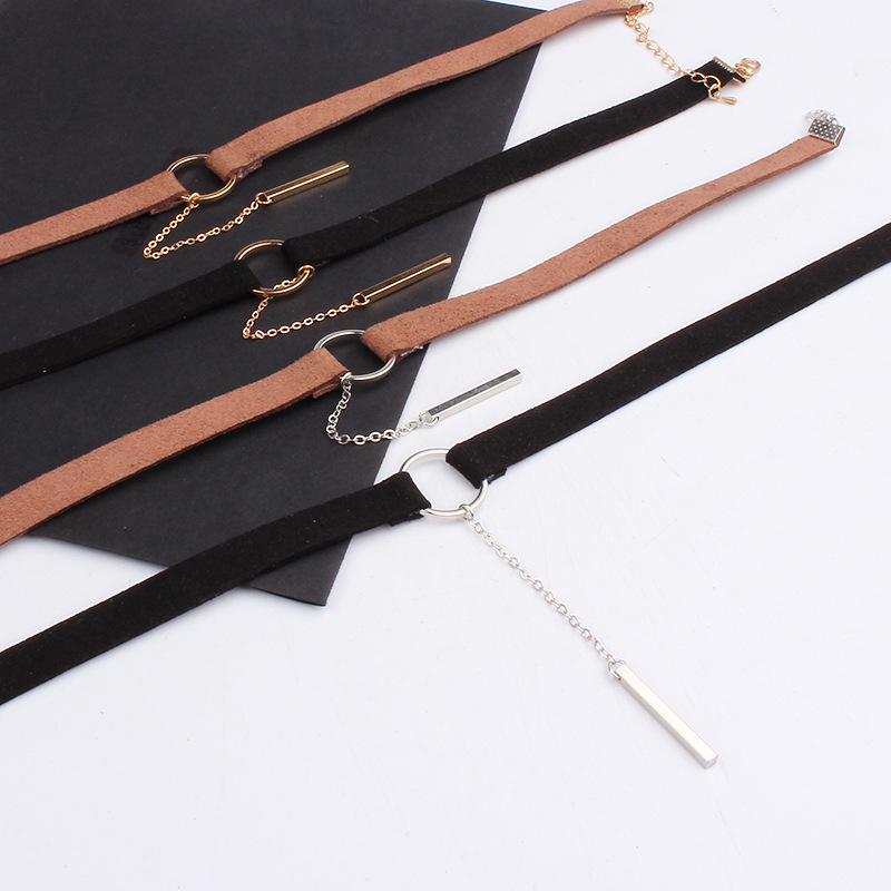 Fashion Women Jewelry Cool Punk Goth Leather Choker Necklace Leather Collares Round Metal Pendant Anime Necklaces For Gift