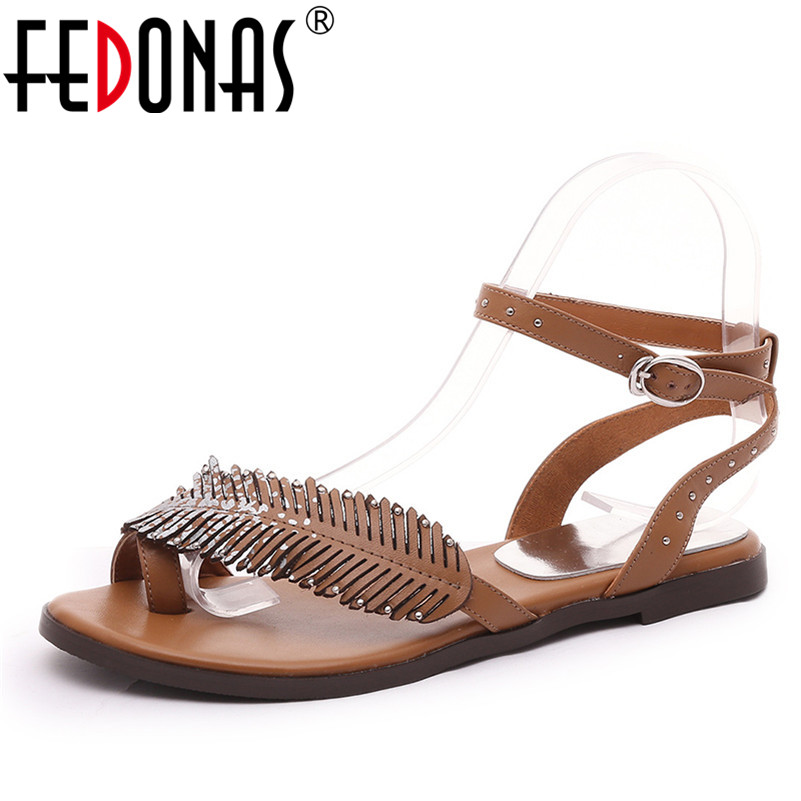FEDONAS Fashion Design Punk Women Sandals Buckle Round Toe Square Heeled Casual Shoes Shallow Single Shoes