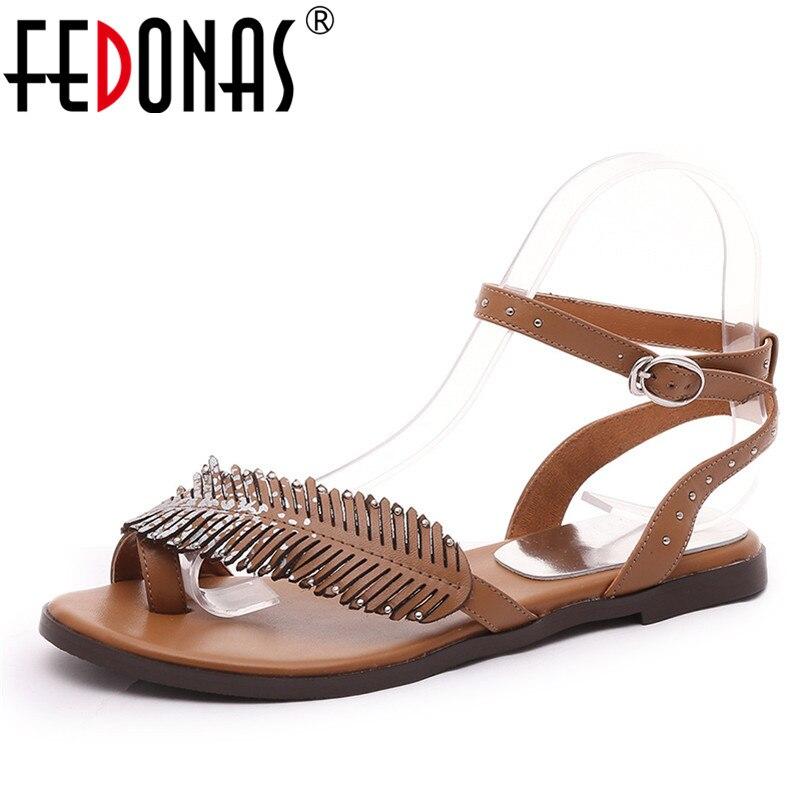 FEDONAS ファッションデザインパンク女性サンダルバックルラウンドトウスクエアハイヒールカジュアルシューズ浅い単一の靴女性のオフィスの靴  グループ上の 靴 からの ローヒール の中 1