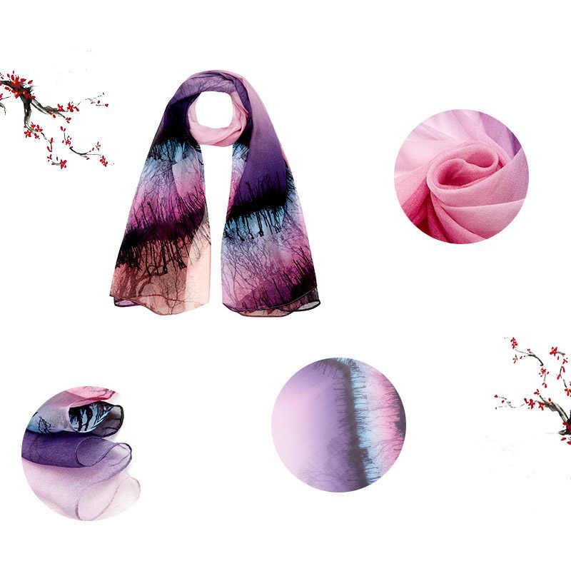 새로운 2019 쉬폰 실크 스카프 꽃 인쇄 디지털 잉크젯 여성 목도리 100% 순수 실크 얇은 레이디 롱 스카프 비치 타월 180*110