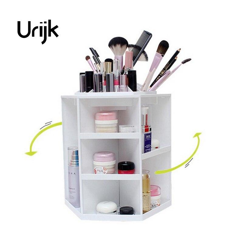 Urijk moda giratoria de 360 grados caja del organizador del maquillaje cepillo titular joyería organizador caso joyería maquillaje cosmético cajas de almacenamiento