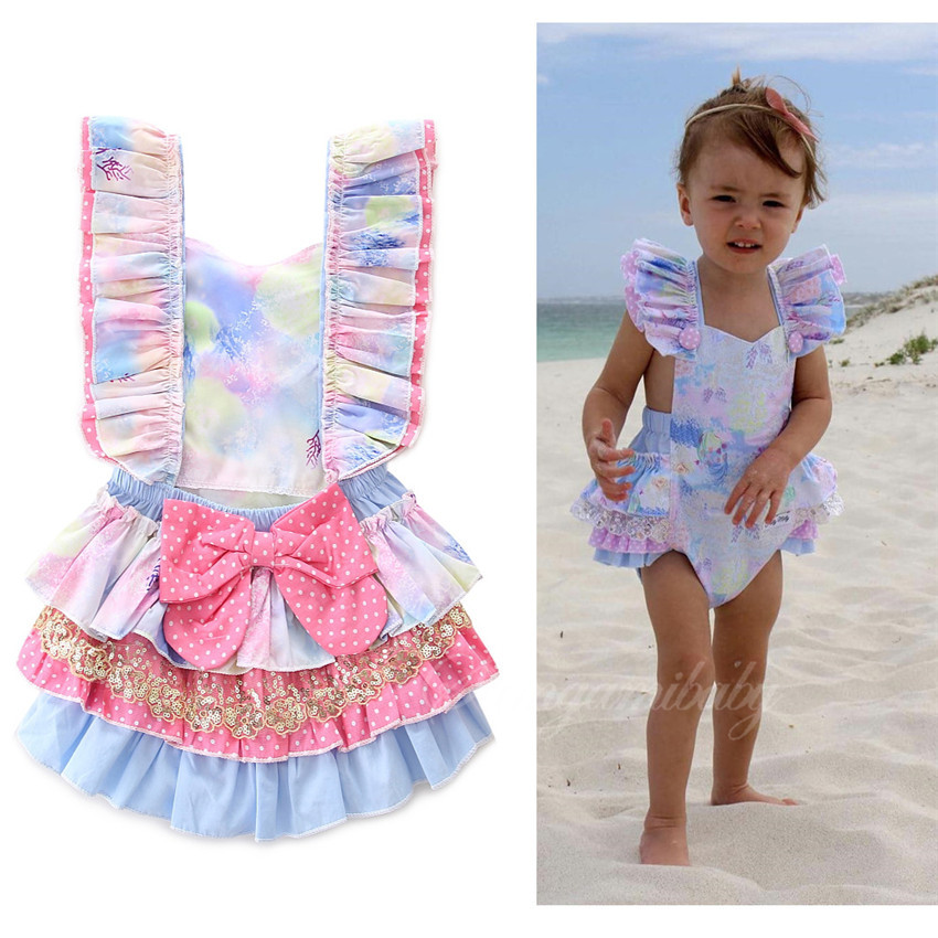 Girls cotton sky blue pink rompers fashion top quality birthday present summer infant overall newborn lotus leaf jumpers 17A801